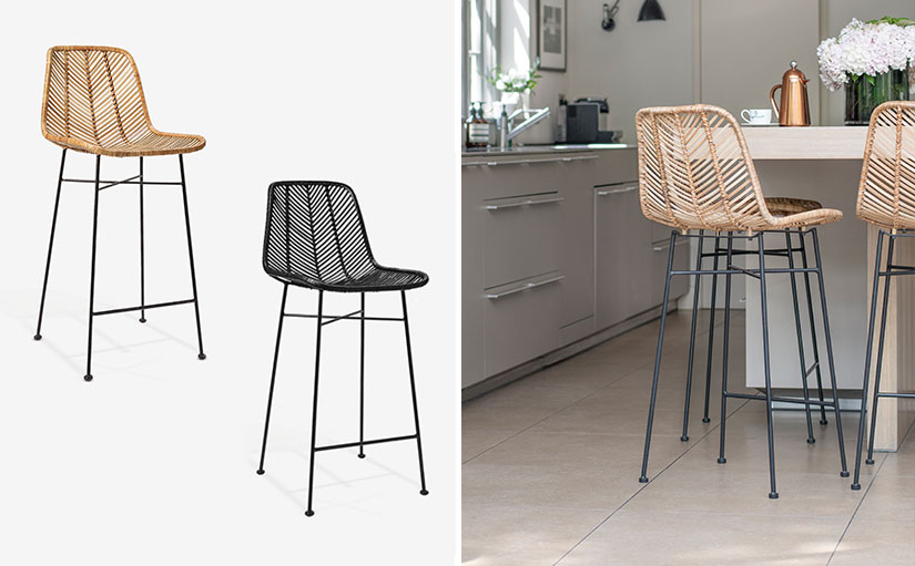 th2studio Rattan Bar stool in natural and black and lifestyle image