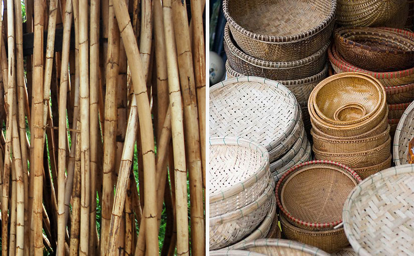 Raw rattan and rattan baskets