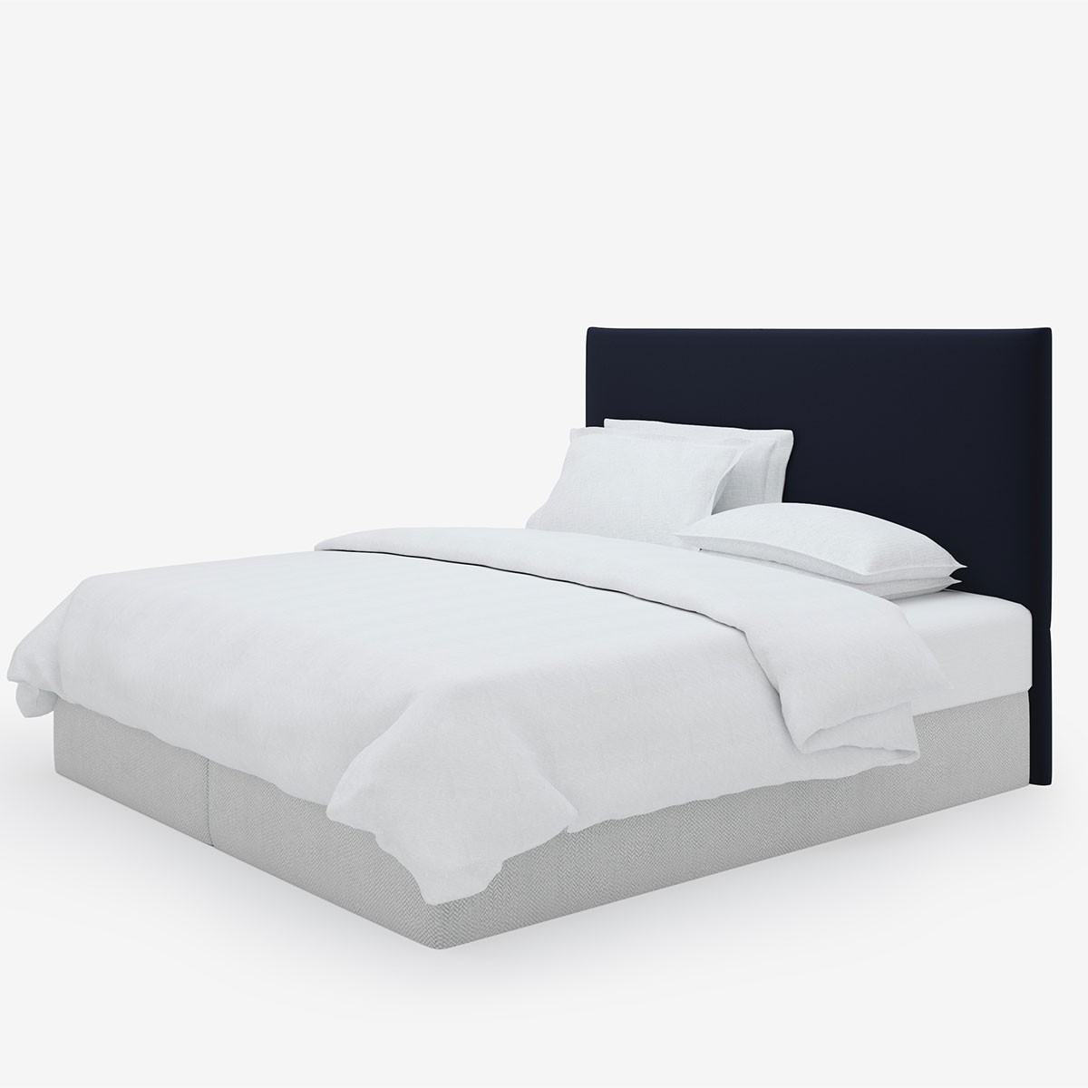 Image shows Simply Tailored Super King Headboard in Relaxed Wool Midnight Blue