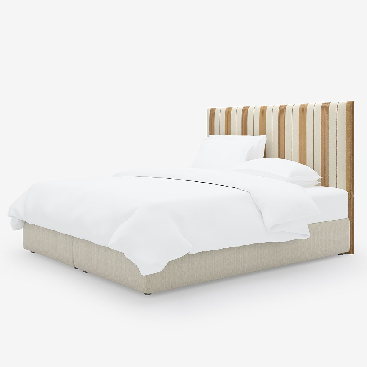 Image shows Simply Striped Super King Headboard in Tan Leather Stripe
