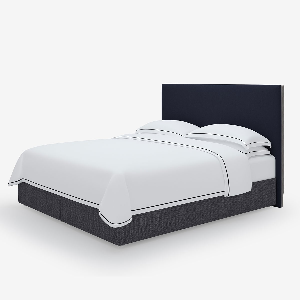 Simply Trimmed Super King Headboard in Studio Stripes Midnight Blue