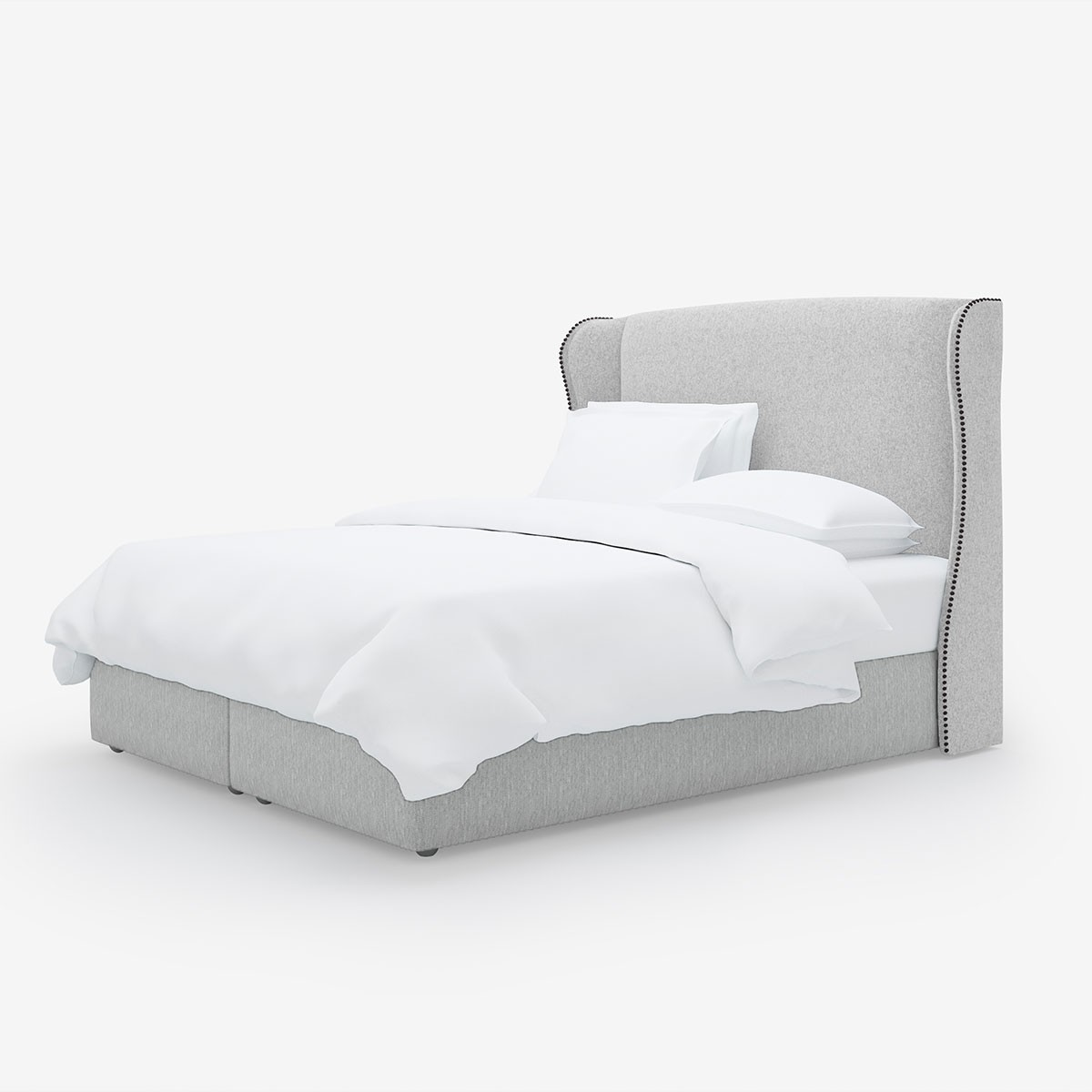 Image shows Simply Winged Super King Headboard in Wool Felt Soft Grey