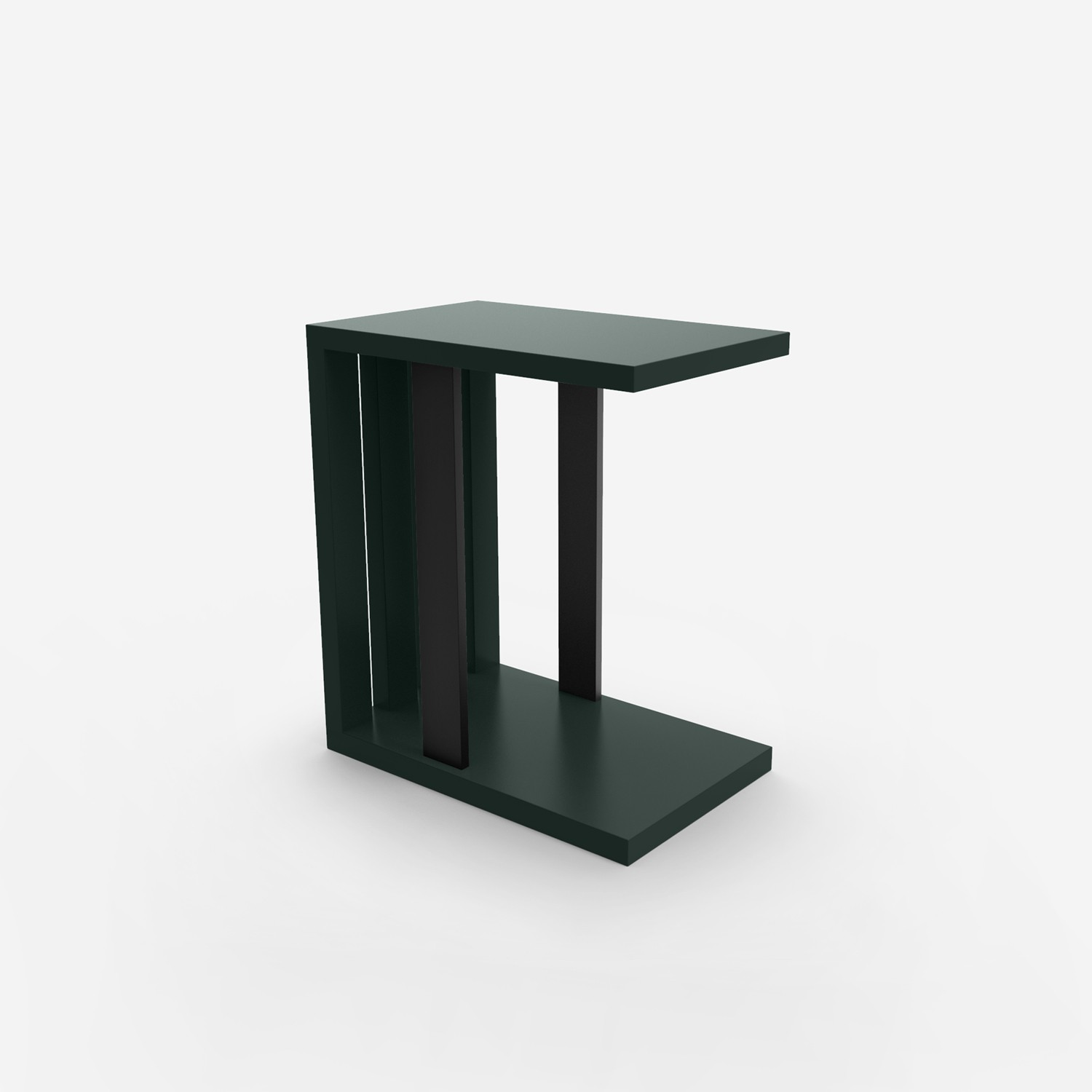 Slatted To Serve Side Table - Forest Green