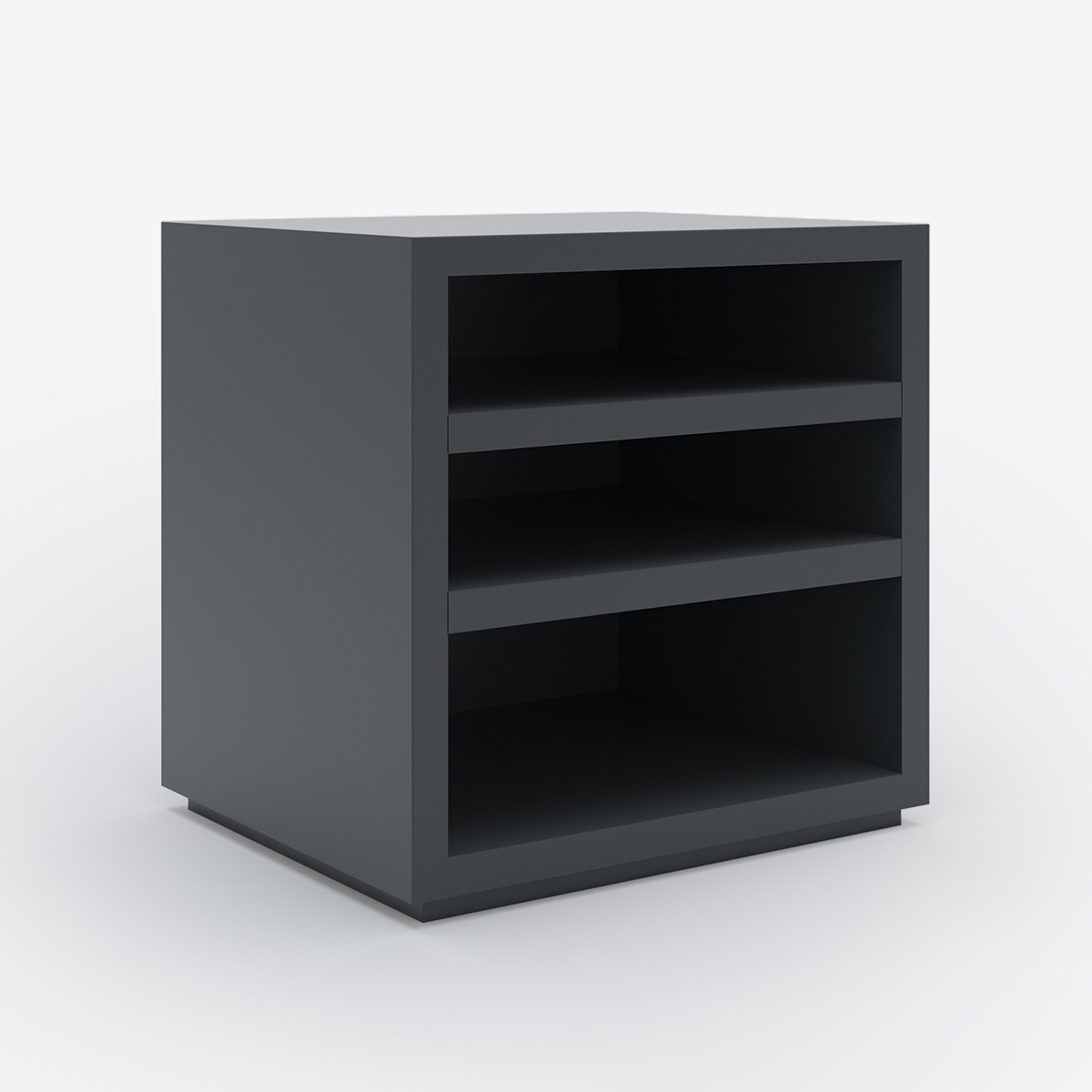 Image shows Simply Sorted Bedside Table in Graphite Grey Lacquer - W50 x D40 x H60 cm
