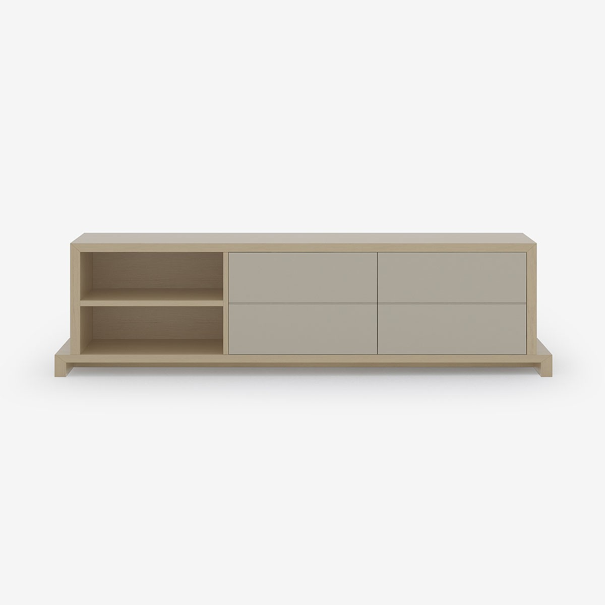 Open & Closed Media Unit, Natural Timber and Soft Taupe Lacquer