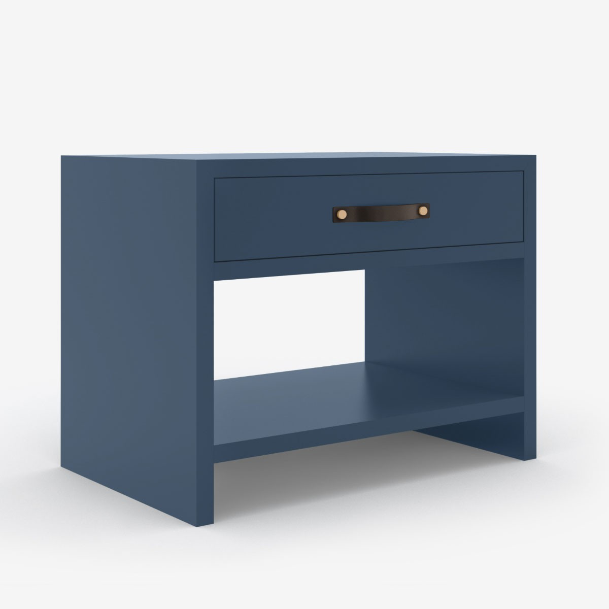 One Drawer Bedside Table - Nordic Blue Lacquer Finish & Leather Strap Handle