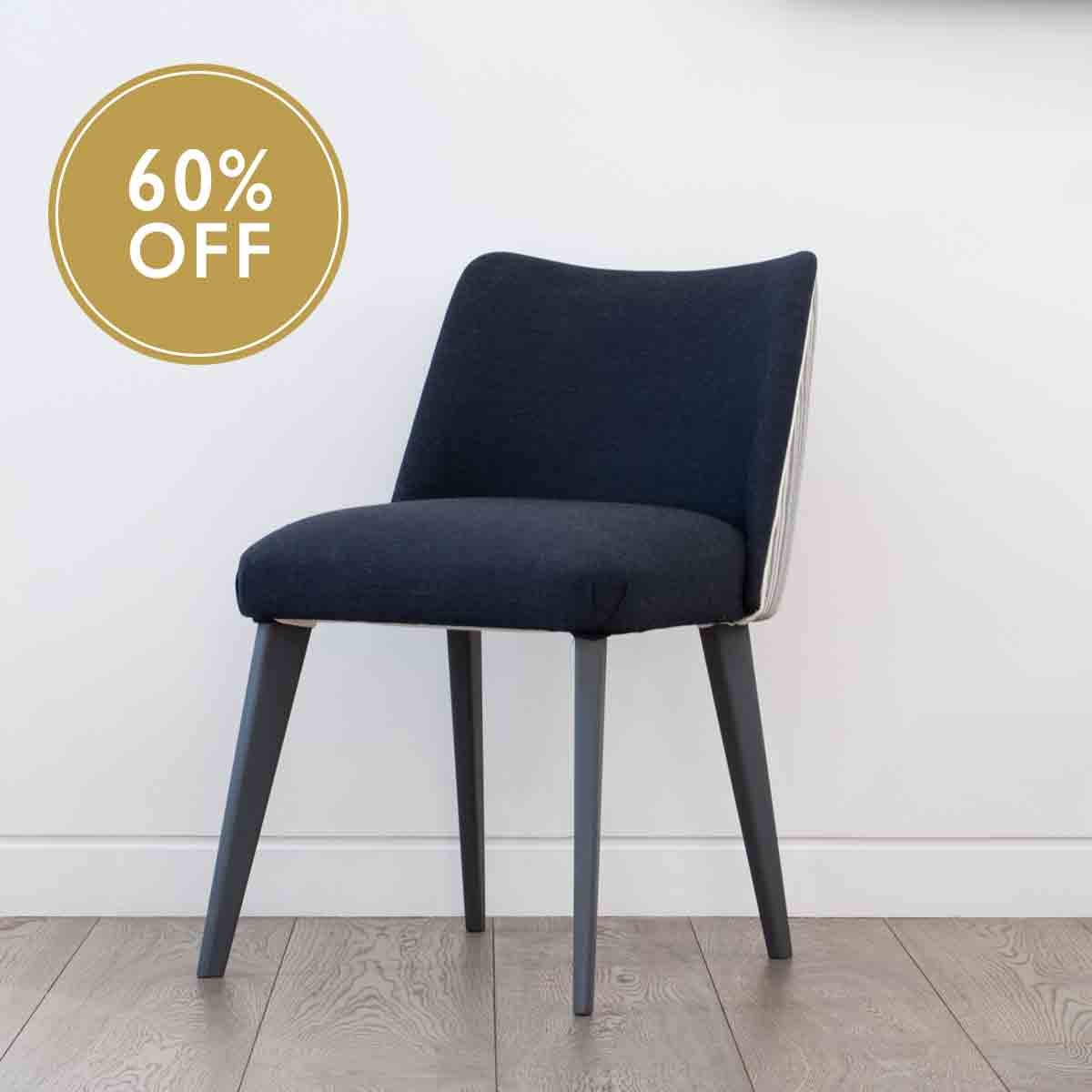 Studio Favourite Dining Chair - Navy seat & Smoke Grey Timber legs