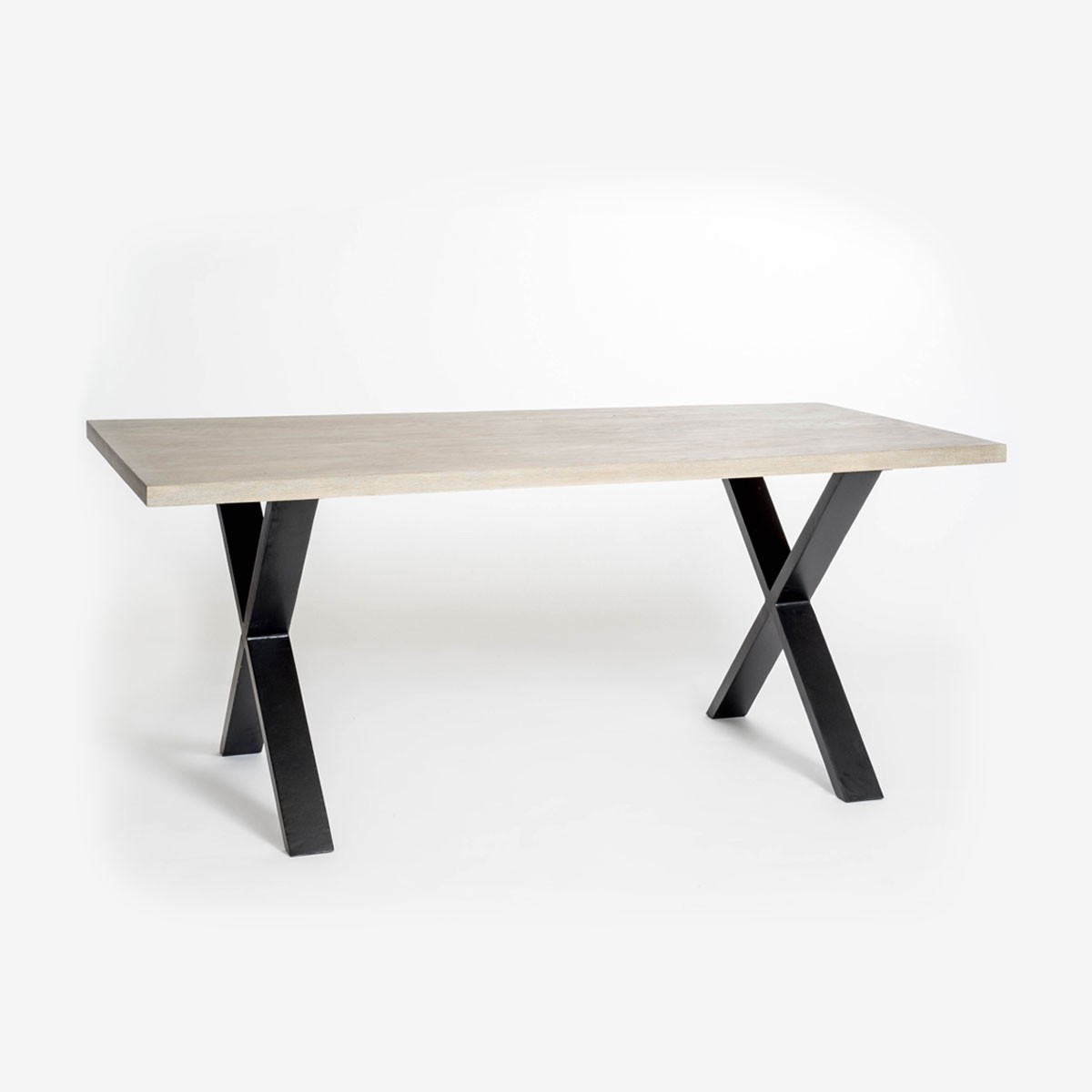 X Frame Dining Table with Aged Oak Top with Black Metal Legs