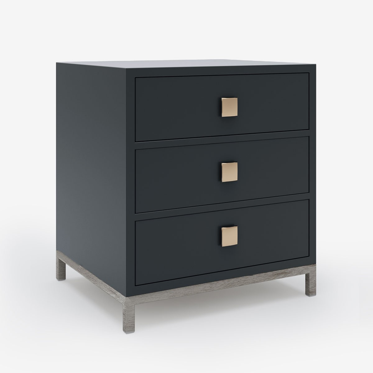 Image shows Drawer Store Bedside in Graphite Grey Lacquer with a Timber Mid Grey base - W45 x D40 x H60 cm