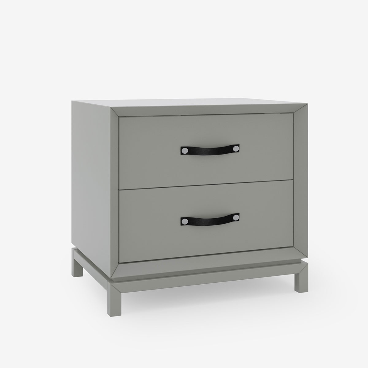 Tailored Style Bedside Table - Soft Taupe Lacquer & Leather Strap Handle