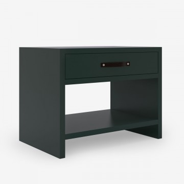 Image shows One Drawer Bedside Table in Forest Green