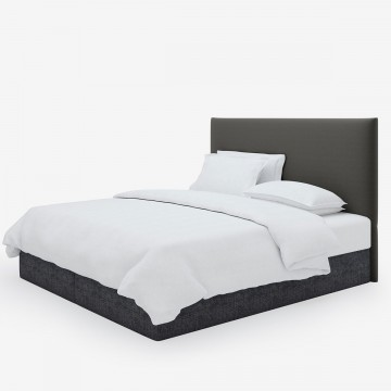 Image shows Simply Tailored Super King Headboard in Studio Linen Charcoal Grey