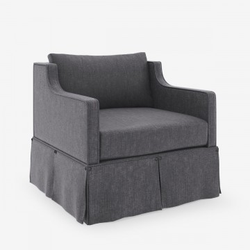 Image shows Willow's Armchair in Studio Linen Charcoal Grey