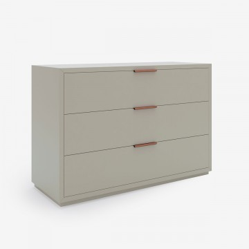 Three Drawer Chest of Drawers, Grey White Lacquer & Tan Leather Roll Handles