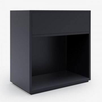 Image shows Open-Closed Bedside Table in Graphite Grey - W60 x D40 x H60 cm