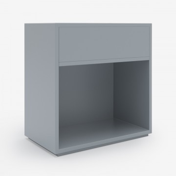 Image shows Open-Closed Bedside in Soft Grey Lacquer - W60 x D40 x H60 cm