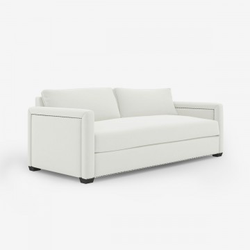 Image shows Large Studded Classic Sofa – 3 Seater in Studio Linen Antique White