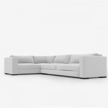 Image shows Contemporary Corner Sofa in Wool Felt Soft Grey