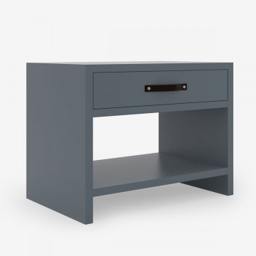 One Drawer Bedside Table - Blue Grey Lacquer Finish & Leather Strap Handle