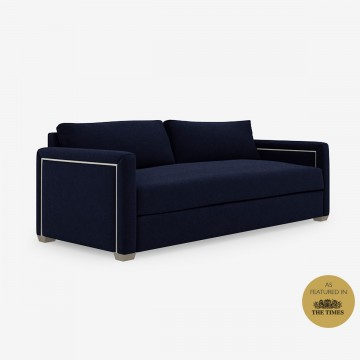 Image shows Piped Classic Sofa - 3 Seater in Nordic Linen Midnight Blue