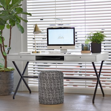 X Frame Desk with Washed Timber Top with Black Metal Legs