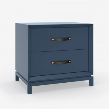 Tailored Style Bedside Table - Nordic Blue Lacquer & Leather Strap Handle
