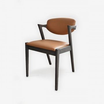 Ziggy's Designer Dining Chair With Luxury Upholstered Seat and Back - Tan Leather and Timber Frame