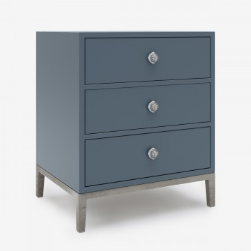 Image shows Drawer Store Bedside Table in Blue Grey Lacquer - W45 x D40 x H60 cm