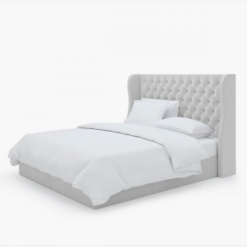 Image shows Simply Buttoned and Winged Super King Headboard in Wool Felt Soft Grey