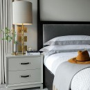 Tailored Style Bedside Table - Soft Taupe Lacquer & Leather Strap HandleImage shows Tailored Style Bedside in Soft Taupe