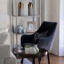 Image shows Darcy's Chair in Style Velvet Midnight Blue