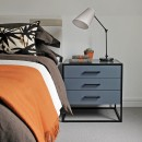 Image shows Off The Floor Drawer Bedside Table in Blue Grey Lacquer