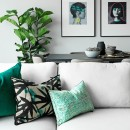 Image shows Urban Jungle Cushion in Aqua