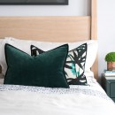 Image shows Orphee Cushion in Emerald