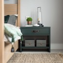 One Drawer Bedside Table - Forest Green Lacquer Finish & Leather Strap Handle