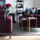Luxury Upholstered Designer Sofa in Relaxed Wool - plum