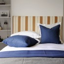 Image shows Simply Striped King Headboard in Tan Leather Stripe