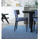 Style Seat Designer Dining Chair With Luxury Upholstered Seat and Back - Graphite grey Herringbone
