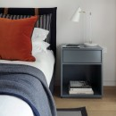 Open Closed Bedside Table in Blue Grey Lacquer