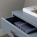 One Drawer Bedside Table - Blue Grey Lacquer Finish & Leather strap handles