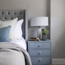 Image shows bedside in Blue Grey Lacquer