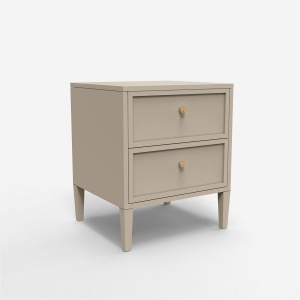 Double Drawer Bedside Table - Cashmere Grey