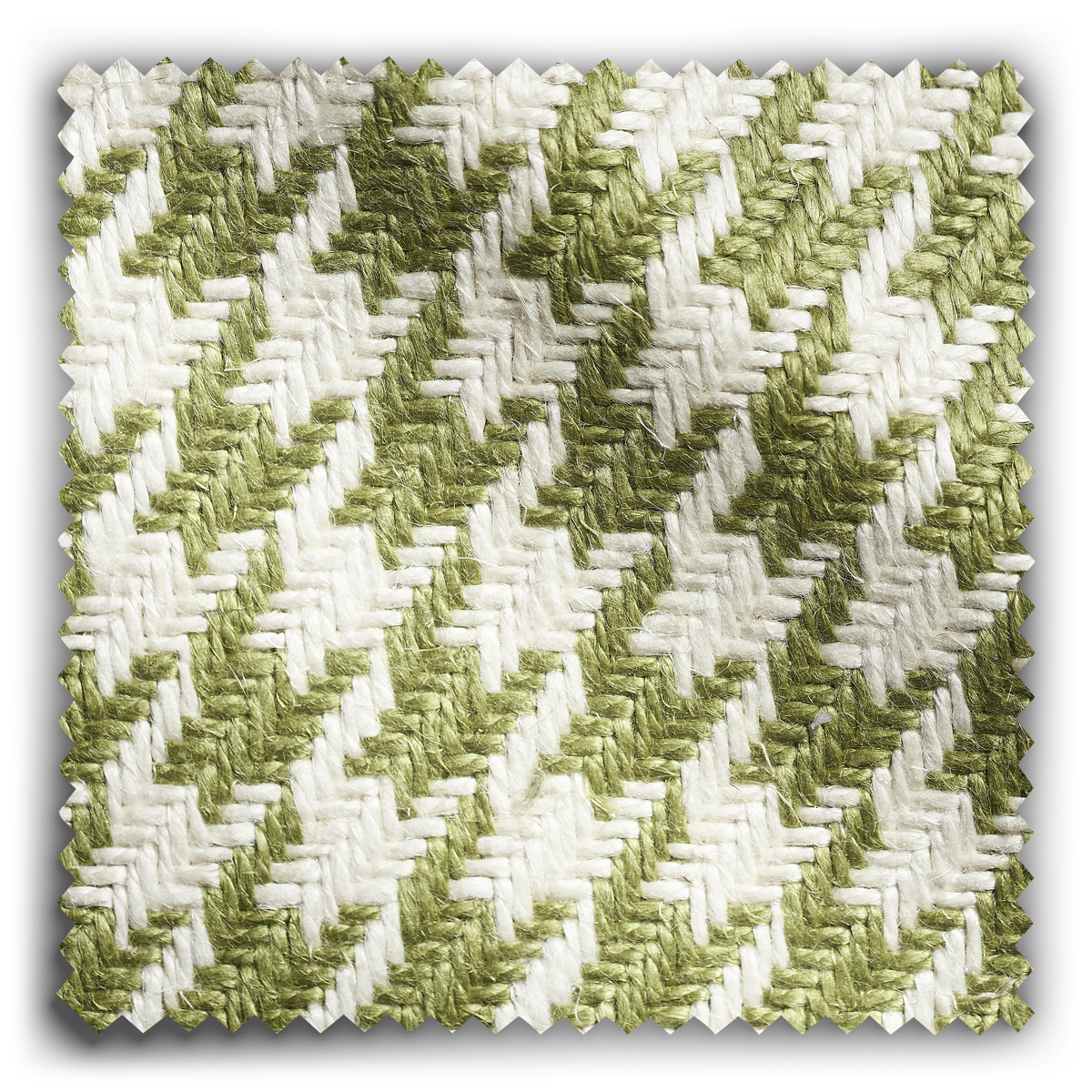 Image of Houndstooth Green & White fabric