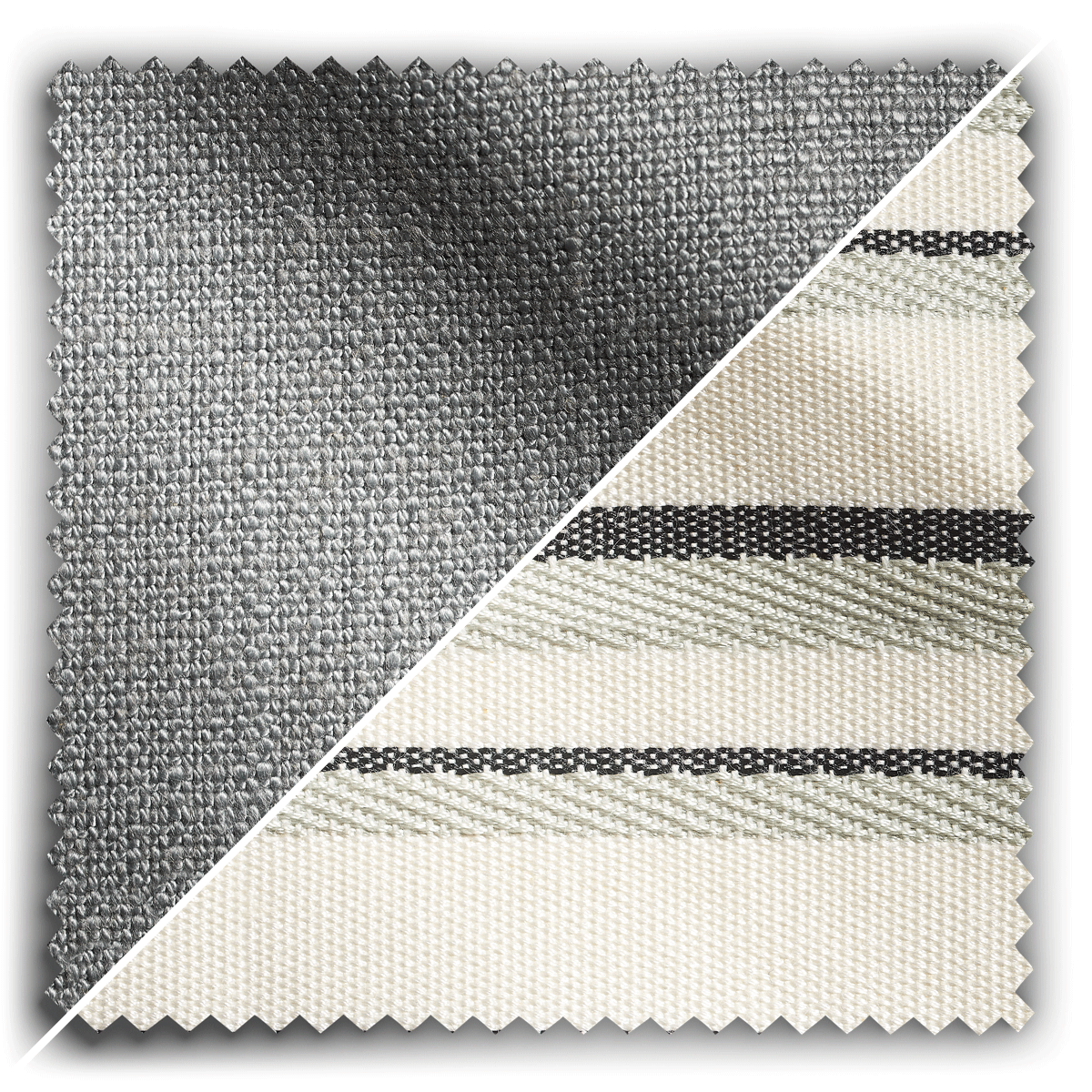 Image of Studio Stripes Silver Grey Linen fabric