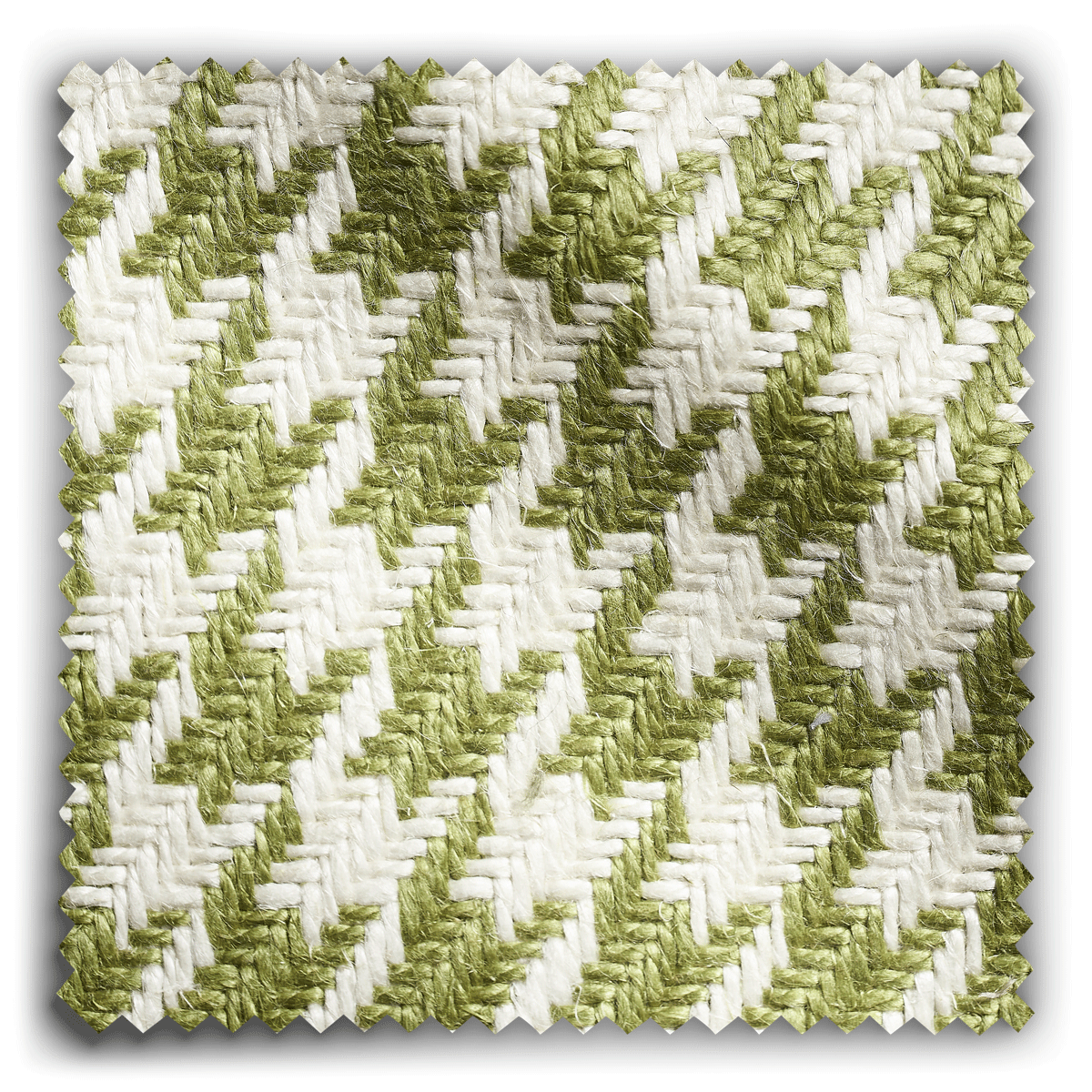 Image of Houndstooth Green and White fabric