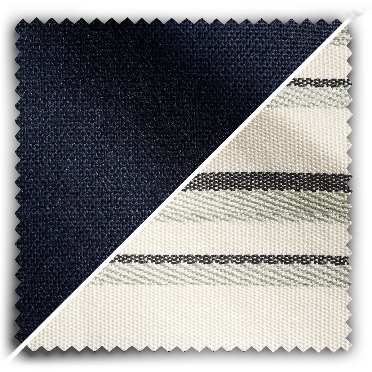 Image of Studio Stripes Midnight Blue Linen fabric